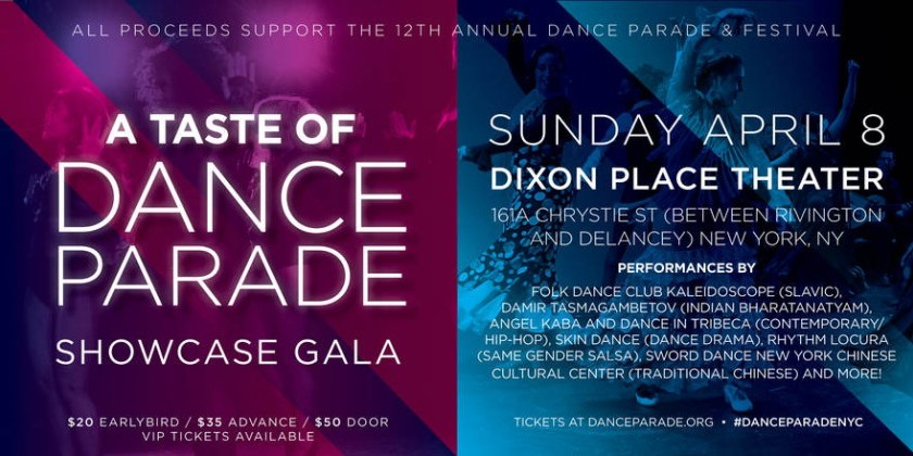 A Taste of Dance Parade, April 8 at Dixon Place