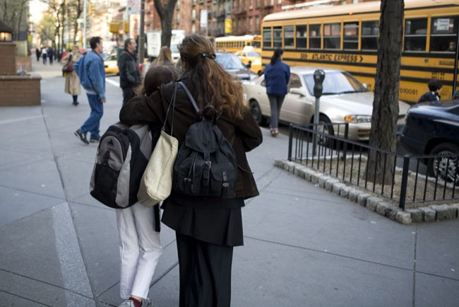 7:20 am- Catherine Sends Her Children Off on The School Bus From The Upper East Side.