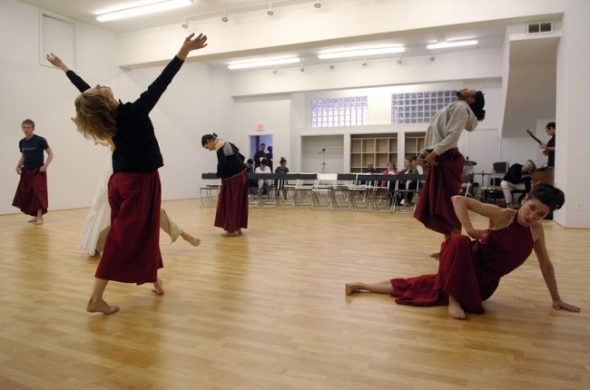 Dancers (L to R) Scott McPheeters, Jillian Harris, Olive Prince, Jumatatu Poe, and Kimberly Miller  Warm Up For First Studio Showing.