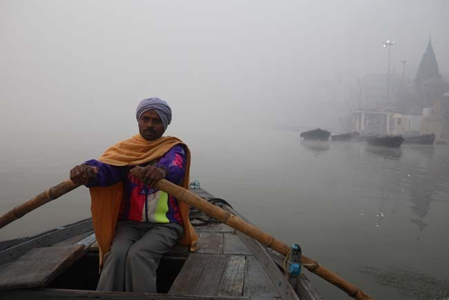 Boatman on the Ganges River in Varanasi.