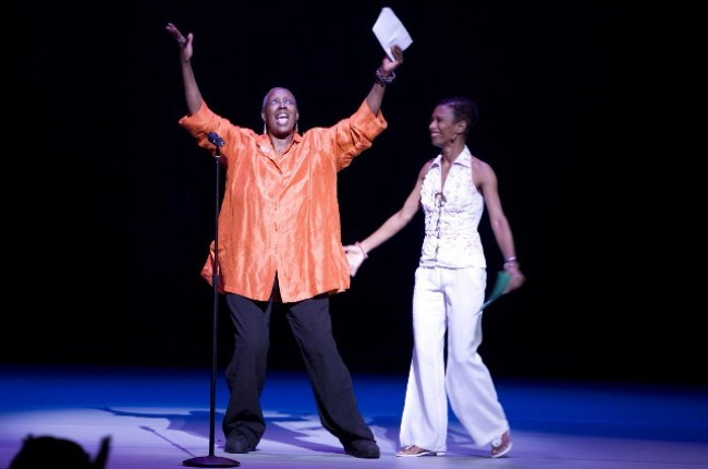 Judith Jamison, Artistic Director of  Alvin Ailey American Dance Theater, with Company Rehearsal Director, Ronnie Favors, Welcomes The  Audience to the Free Alvin Ailey Day Performances.