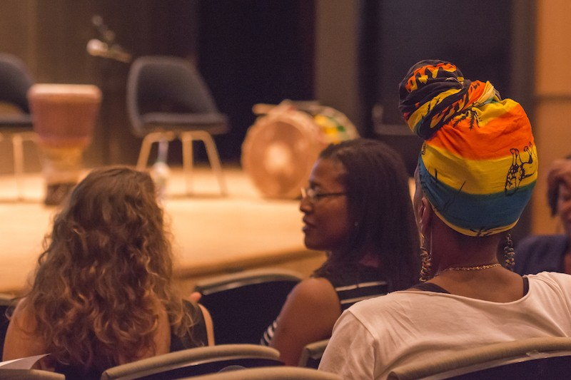 the audience listens to the Town Hall event with Traditional African Dance Artists in NYC