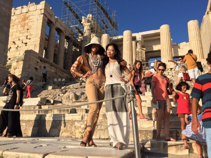 Natasha Diamond-Walker and Ying Xin at the Acropolis in Athens, Greece