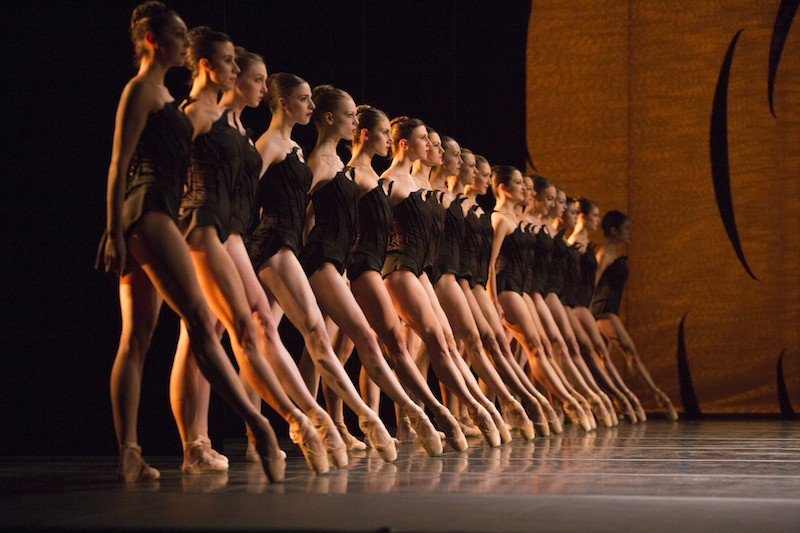 An ensemble of women dressed in black leotards stand in a straight vertical line looking towards center stage