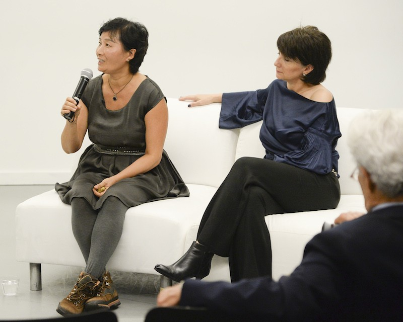 Hu Bing and Art Curator, Cheryl McGinnis during Panel Discussion