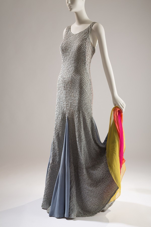 Elsa Schiaparelli. Light blue evening gown with wired pintucks and interior colored ruffles at flared hem, mid-1930s, France. Beverley Birks Collection, photo © The Museum at FIT.