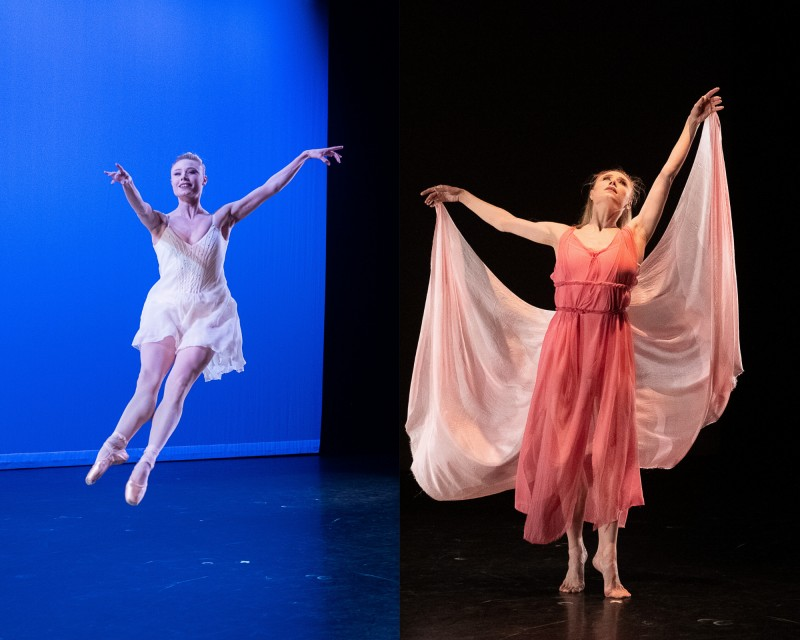 Two pictures of Sara Mearns: one in Isadora mode, the other dancing ballet