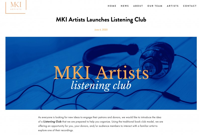 page from MKI artists online listening club against a white back groun a large photo of a headset in a brilliant blue background with orange MKI artist graphic and whilte listen club italic graphic