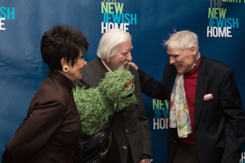 Chita Rivera, Caroll Spinney with Oscar the Grouch, and Jacques d'Amboise chat