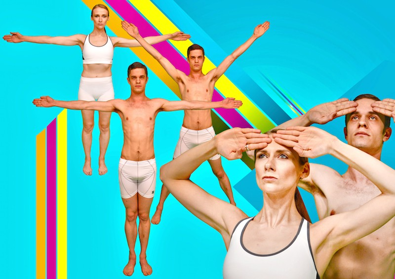 Dancers in white undergarments execute various salutes behind a flourscent background
