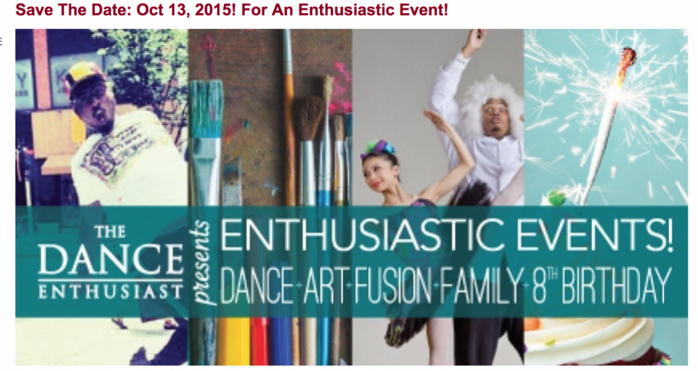 October 15 A Dance Art Fusion Family 8th Bday Party!