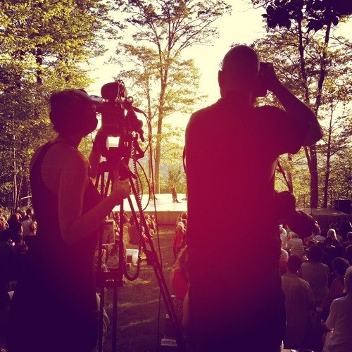 Nel filming and Christopher photographing Inside/Out at Jacob's Pillow. Photo by Heather McCown