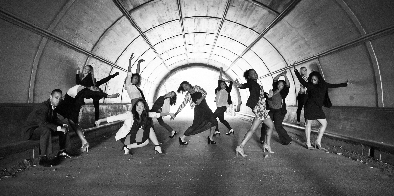 Jamal Jackson Dance Company pose under the bridge in Central Park