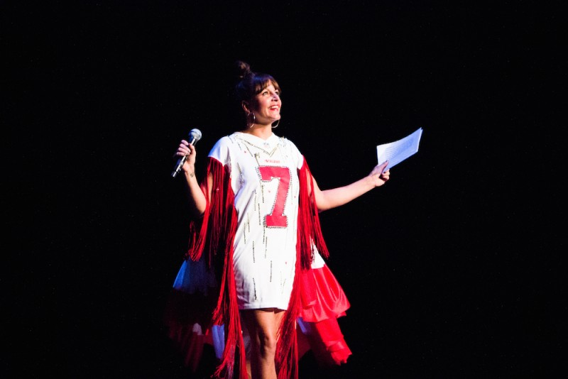 Adrienne Truscott in Bold Red Number 7 Dress MC's the Bessies