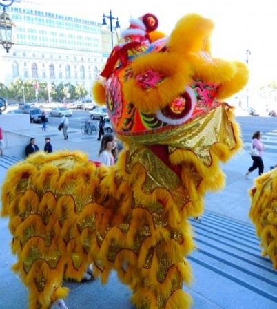A Lion from Leung's White Crane Chineses Lion Dancers Greets Conference Attendees on the Steps of San Francisco's City Hall-Photo by Christine Jowers