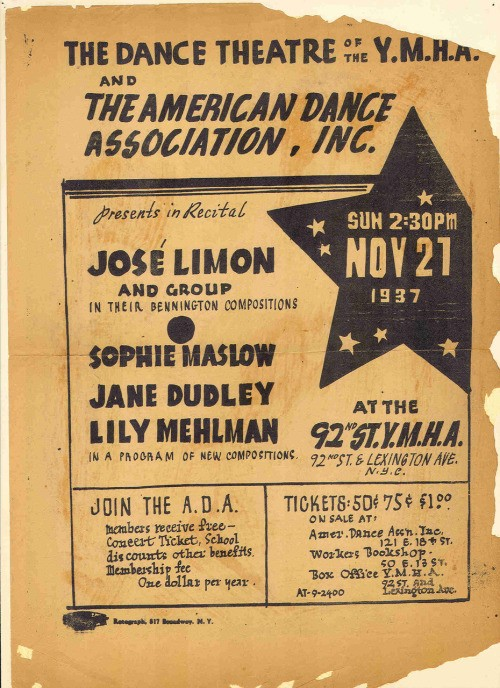 A 1937 flyer promoting at performance of José Limón at the 92nd Street Y