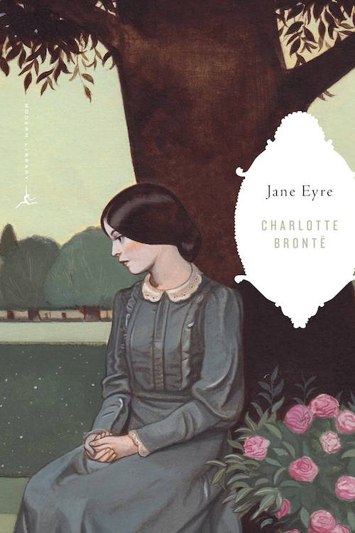 A book cover of Jane Eyre with Jane under a tree