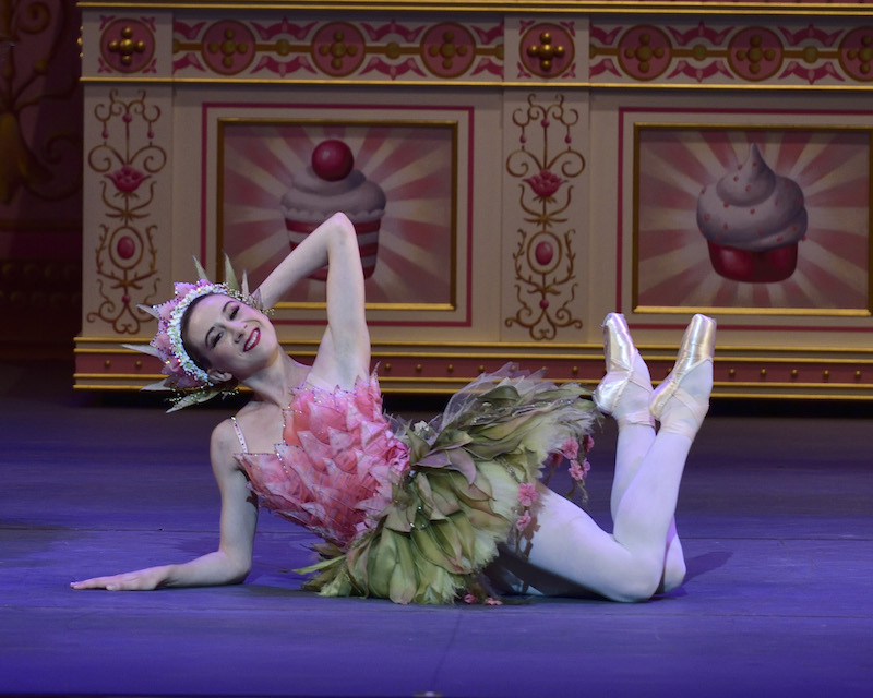 Ballerina Isabella Boylston poses on the floor with her legs interwined. She wears a tutu that resembles a pink petaled flower.
