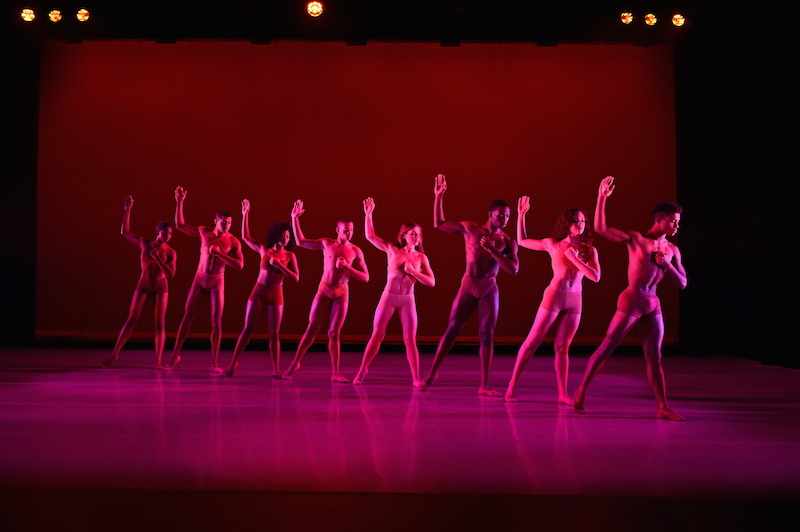 The ensemble in nude shorts stand in a diagonal line with their right arms raised under a rose colored light