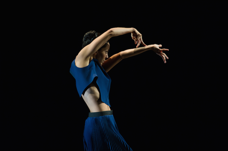 A female dancer in profile extends her left arm at eye level while her right arm bends at the elbow over her head. Her right fingers splay and rest on her left forearm