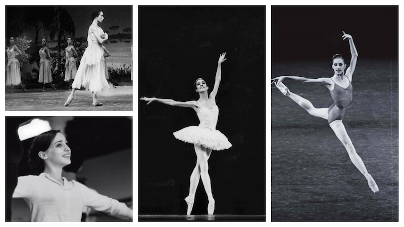 A collage of black and white photographs of the four ballerinas dancing during their performance careers