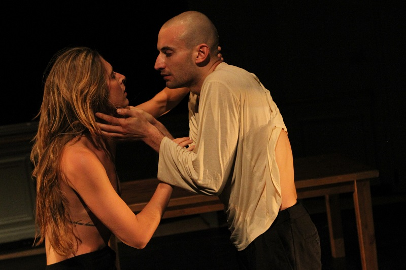 Dancers Chelsea Bonosky and Adam Barruch embrace in Belladonna