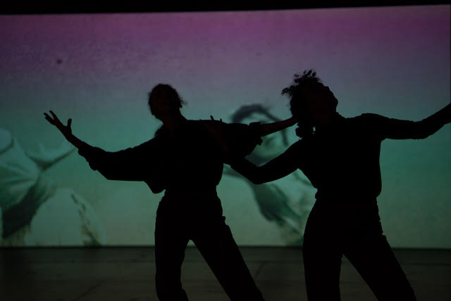 Two bodies in silhouette stand in front of a green and purple projection. Their arms are outstretched.