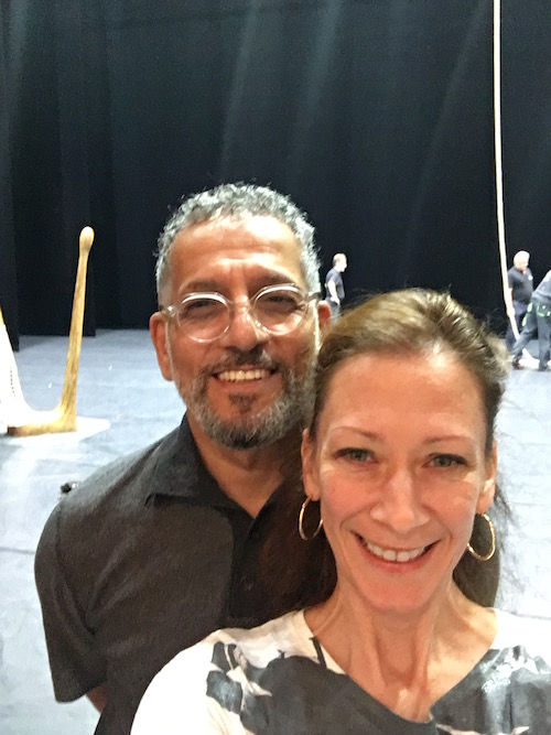 Blakely takes a selfie with Dreden's bespectacled ballet master Gamal Gouda. They pose on stage.