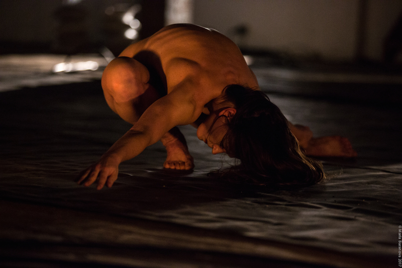 A naked woman crouches and hovers her arms above the floor. Her long hair drapes onto the floor.