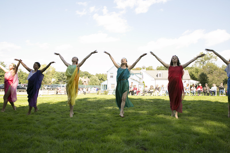 A group of dancers in Grecian colorful dresses. Their arms are outstretched as the stand on a grassy lawn.