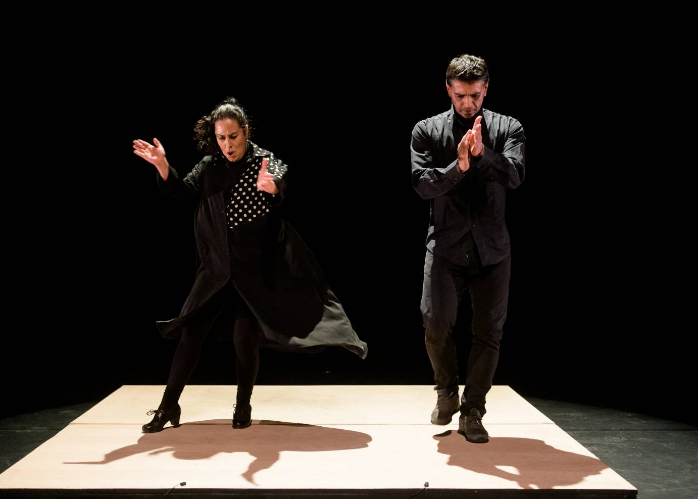 A man and a woman clap their hands and stamp their feet in a flamenco performance