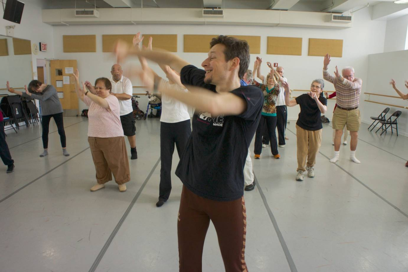 Artist David Leventhal leads a Dance for PD class at Mark Morris Dance Center as depicted in the film