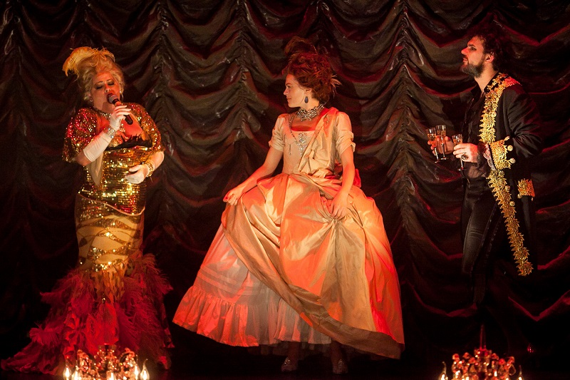 (L-R): Shelly Watson as Madame Drosselmeyer, Laura Careless as Marie-Claire and Jeff Takacs as Monsieur Drosselmeyer in Nutcracker Rouge
