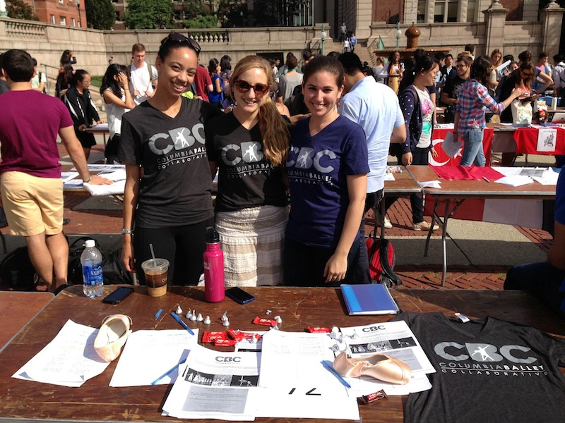 CBC dancers Brianna Hill, Gretchen Schmid, and Rachel Silvern recruit new members at Columbia UniversityaAAAAA€AAAAA™s annual Activities Fair.