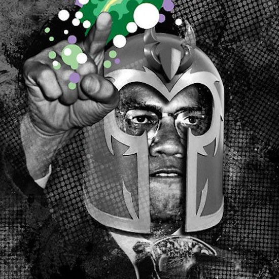 An African-American superhero/villain wearing a helmet and fist-punching the air.