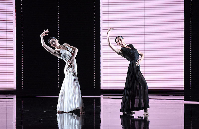 Blanca Li and Maria Alexandrova dressed in long filmy dress extend their downstage arms over the heads and bend their upper backs behind them. We see their faces as they peer out to the audience.