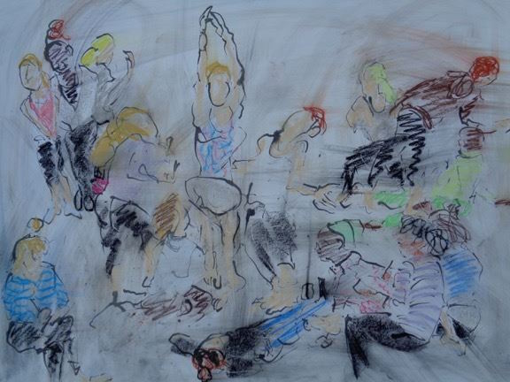 A colorful sketch of dancers in a studio by Daniel Jay