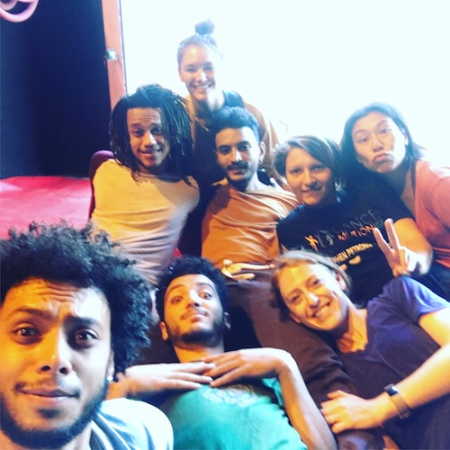 The cast of Emily Schoen's Tunisian Residency gather on a couch for a selfie