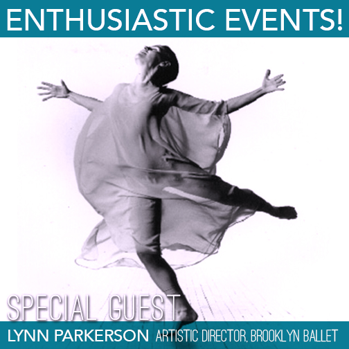 Brooklyn Ballet Artistic Director Lynn Parkerson strikes a back attitude with both of her arms outstreched and head to the heavens