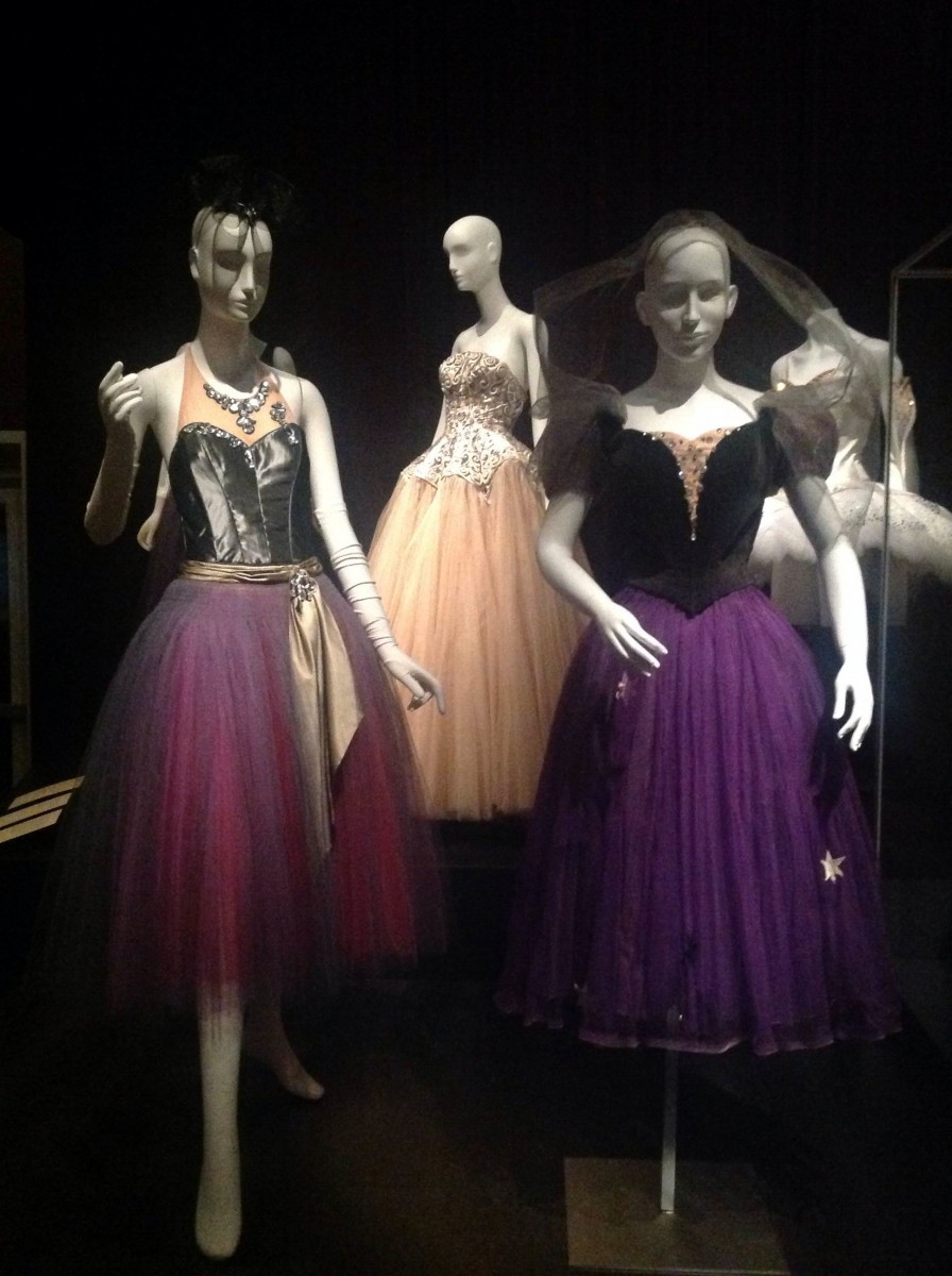 La Valse Costume by Karinska (left), A dress with a jeweled bodice by Balenciaga (center back), Christian Berard (right)