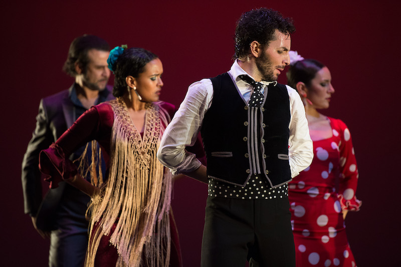 A quartet of flamenco dancers stand with their arms clasped behind their backs. They wear brightly colored costumes. One has a fringey shawl. Another wears a red and white polka dot dress. A man wears a polka dot tie and a black vest with grey piping. In the back, a man wears a grey suit.
