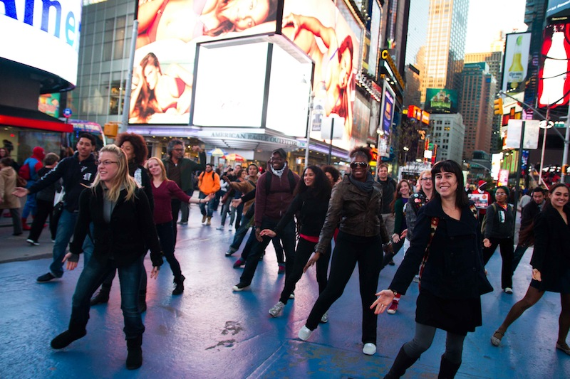 A commissioned Kinesis Project Flashmob in the heart of Times Square. Photo AA© Tali Blankfeld.