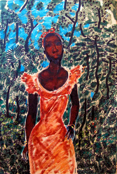 A impressionistic painting by Geoffrey Holder. A black woman in a coral dress with a vibrant blue sky and lush forest behind her