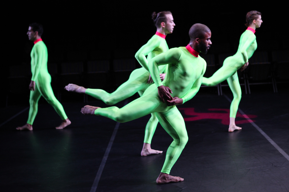 Heginbotham's Dancers in Lime Green Unitards
