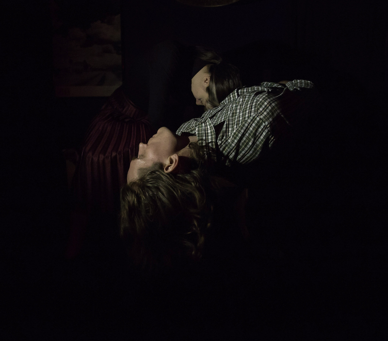 Two bodies lay on a table. A man in a plaid shirt arches back. A woman nestles in by his side.