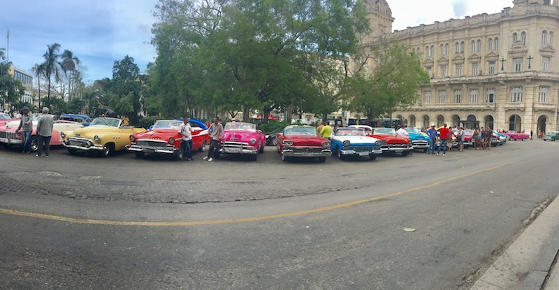 Several sherbet colored 1950s classic cars line up on a Cuban street