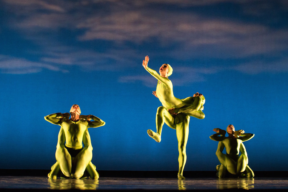 Momix OPUS CACTUS Dancers in lime green 2 dancers creating on ostrich creature...