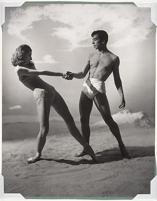 Tanaquil Le Clercq and Nicholas Magallanes holding hands mid-dance on Jones Beach.