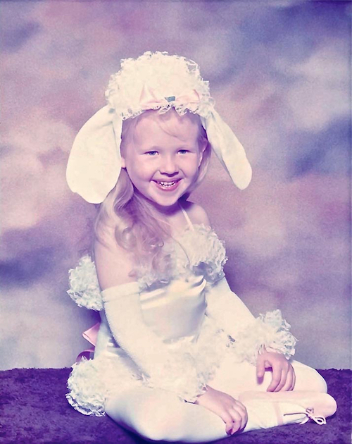A young Michelle Loucadoux in her first dance costume, the Dancing Poodle