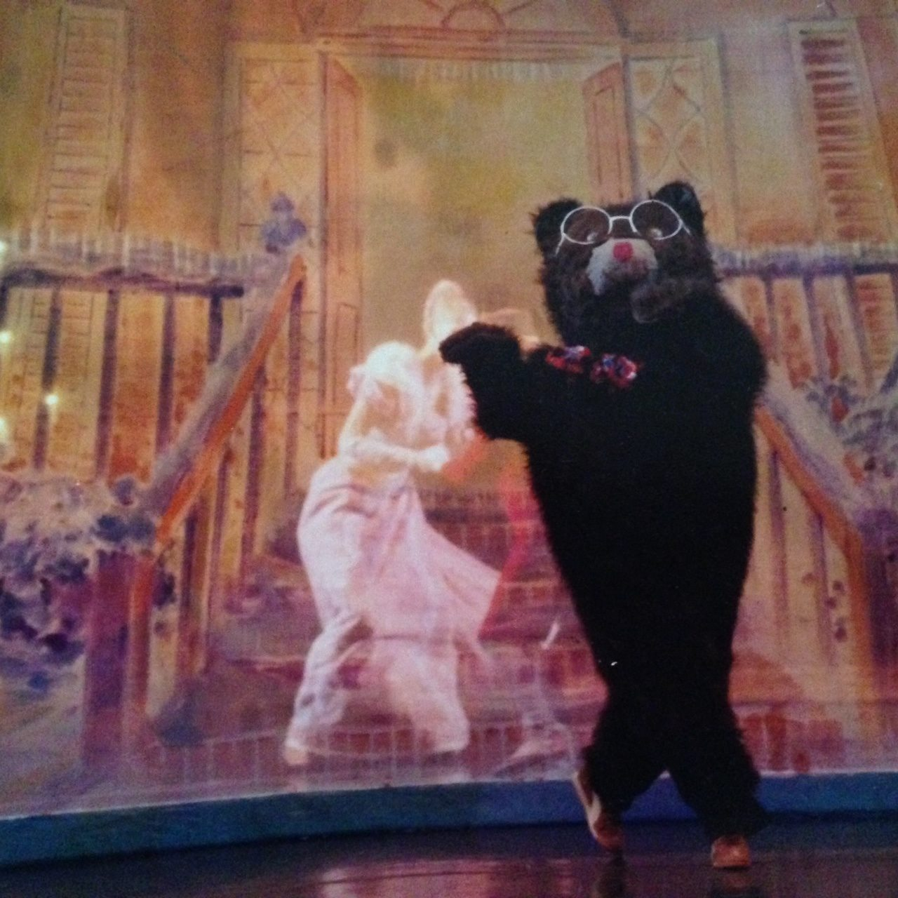 A dancing bear on stage